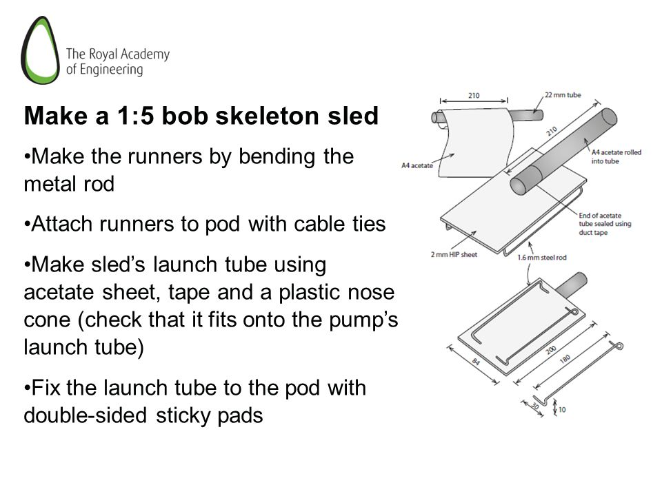 Make a 1:5 bob skeleton sled