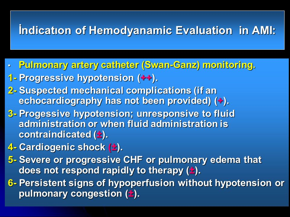 İndicatıon of Hemodyanamic Evaluation in AMI: