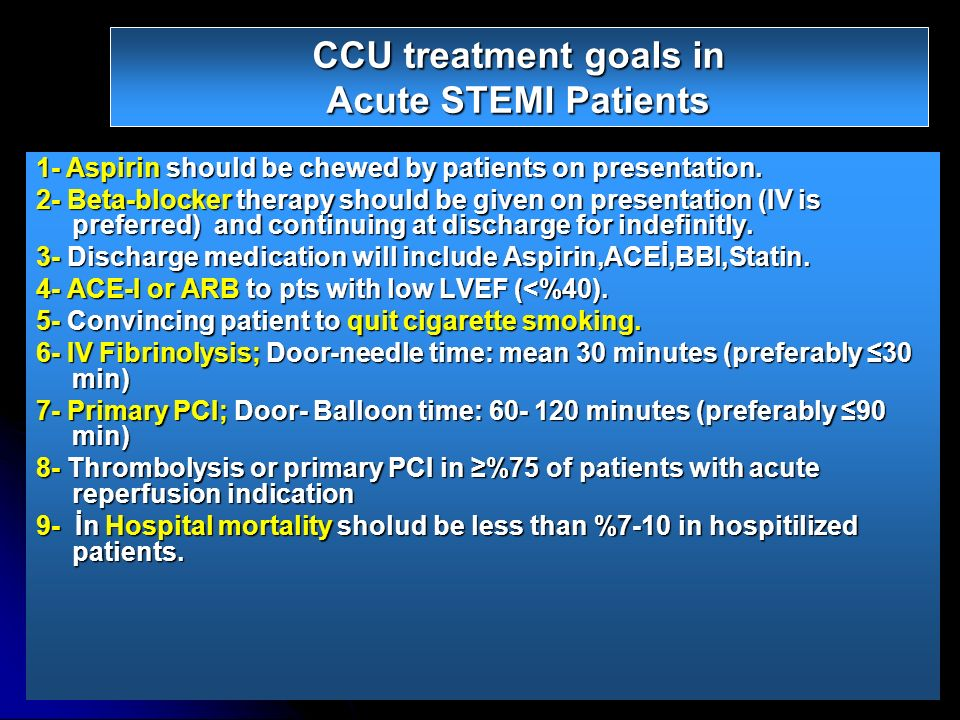 CCU treatment goals in Acute STEMI Patients