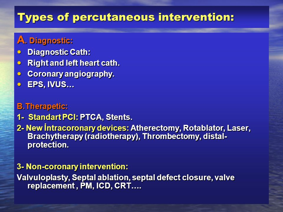 Types of percutaneous intervention: