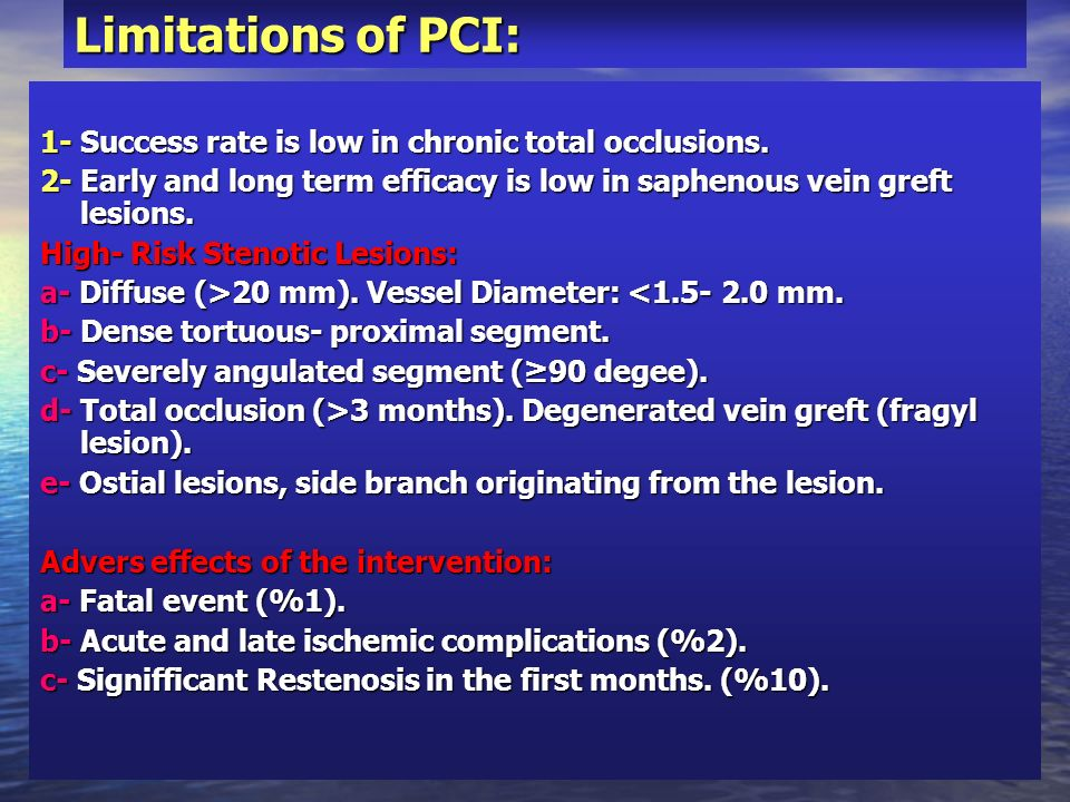 Limitations of PCI:1- Success rate is low in chronic total occlusions. 2- Early and long term efficacy is low in saphenous vein greft lesions.