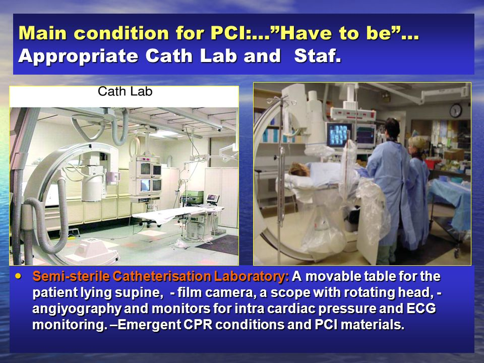 Main condition for PCI:… Have to be … Appropriate Cath Lab and Staf.
