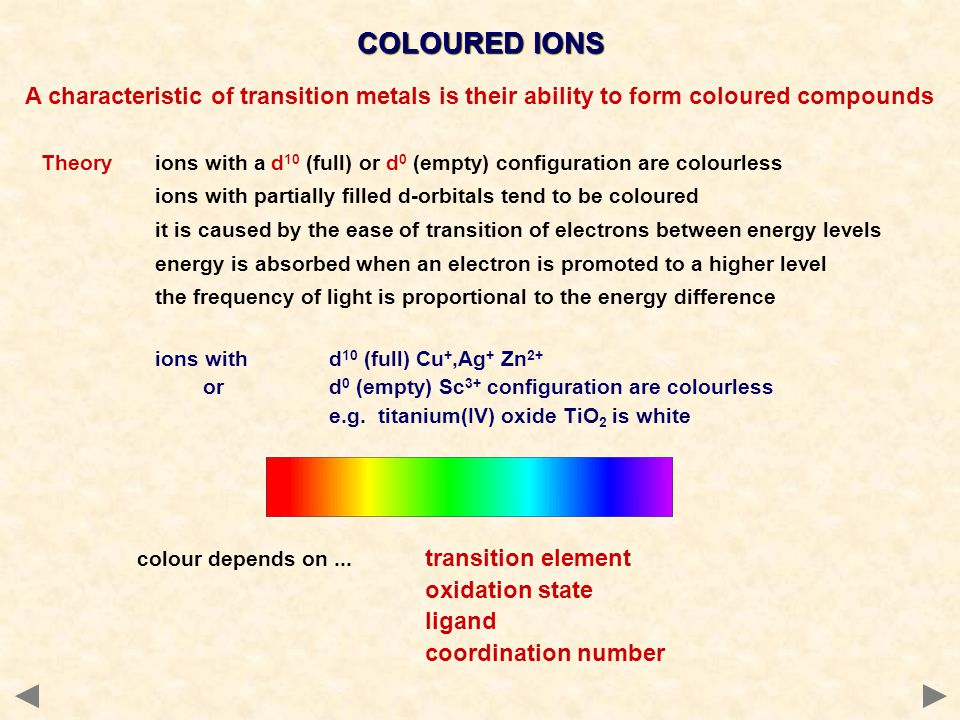 COLOURED IONS A characteristic of transition metals is their ability to form coloured compounds.