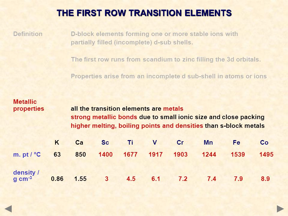 THE FIRST ROW TRANSITION ELEMENTS