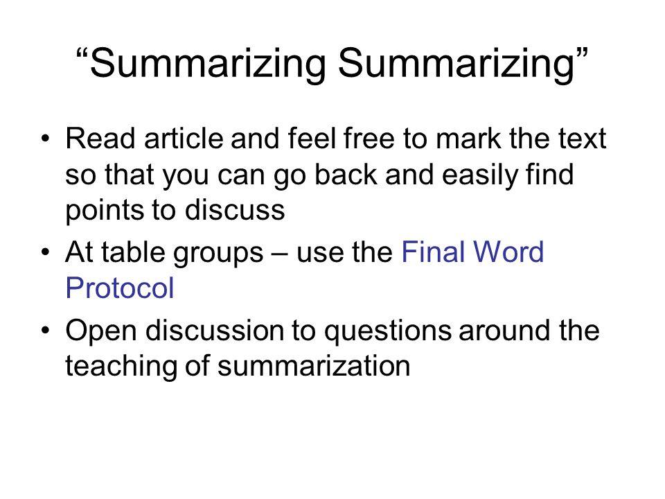 Summarizing Summarizing