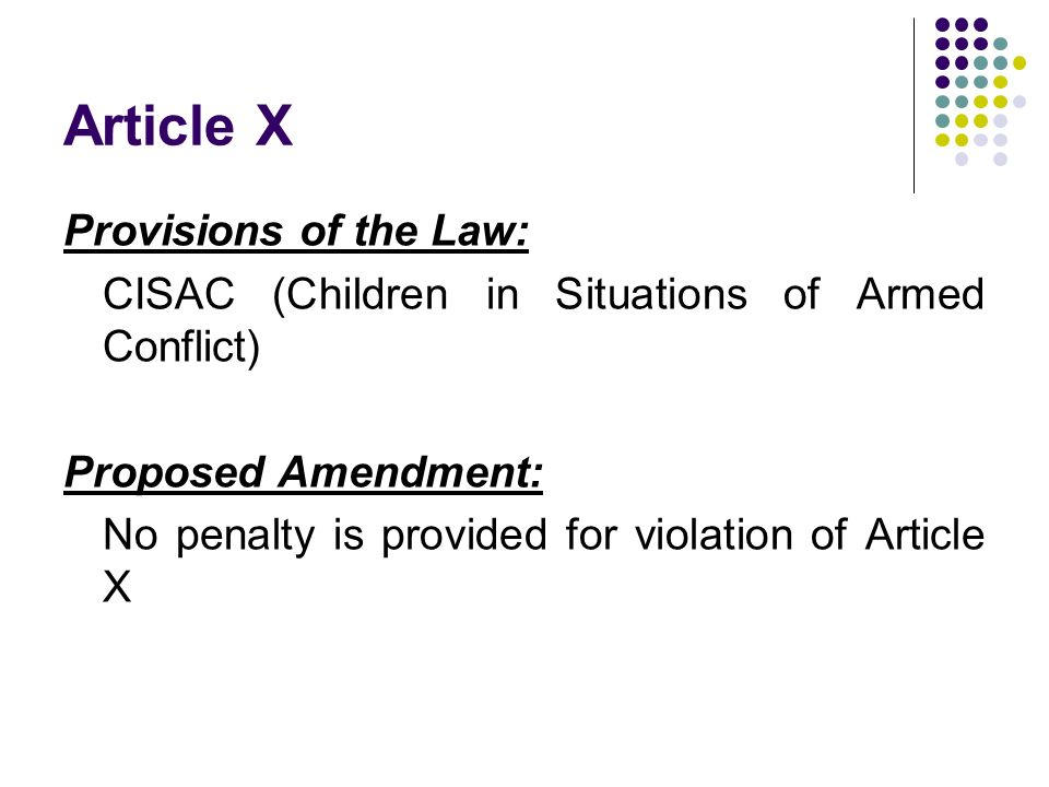 Article X Provisions of the Law: