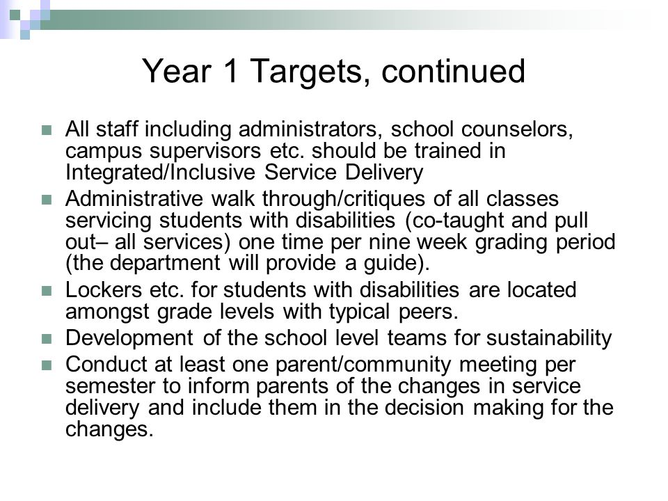 Year 1 Targets, continued
