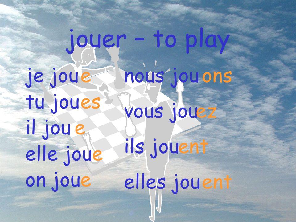 jouer – to play nous jou vous jou ils jou elles jou ons ez ent je jou