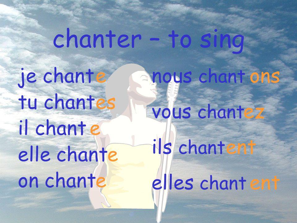 chanter – to sing nous chant vous chant ils chant elles chant ons ez