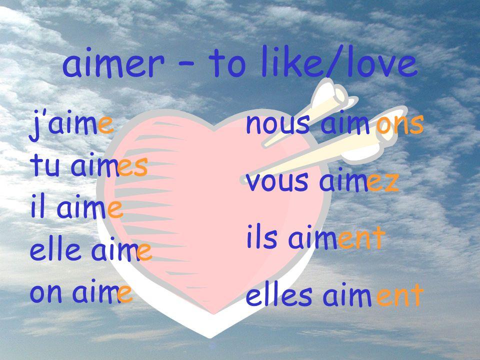 aimer – to like/love nous aim vous aim ils aim elles aim ons ez ent