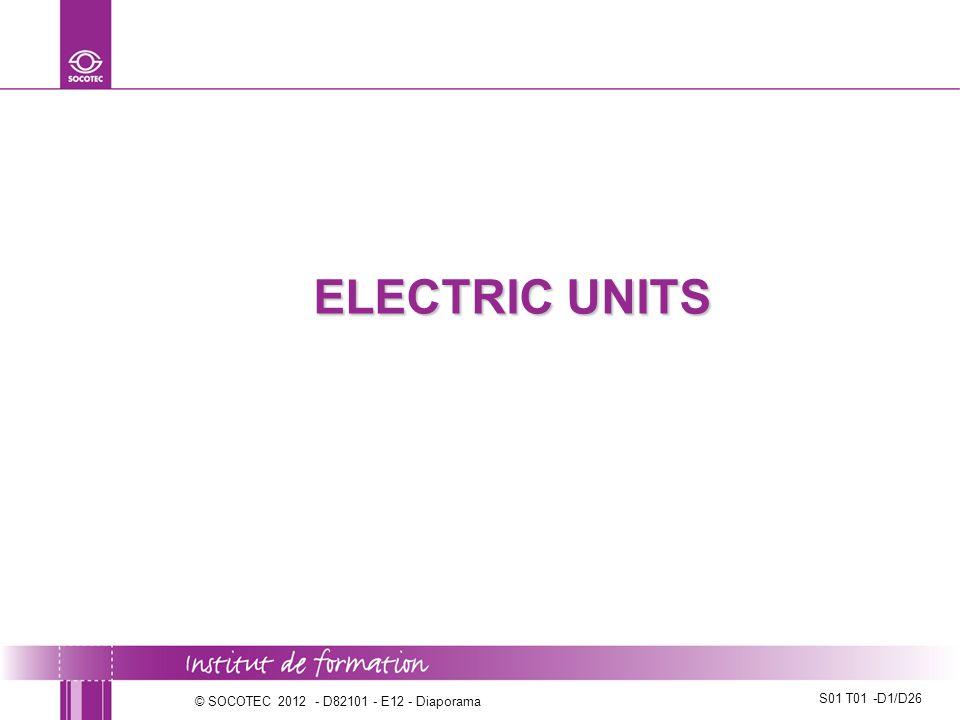 ELECTRIC UNITS Séquence S01 T01: Distinguer les grandeurs électriques telle que courant, tension, puissance, alternatif, continu, fréquence.