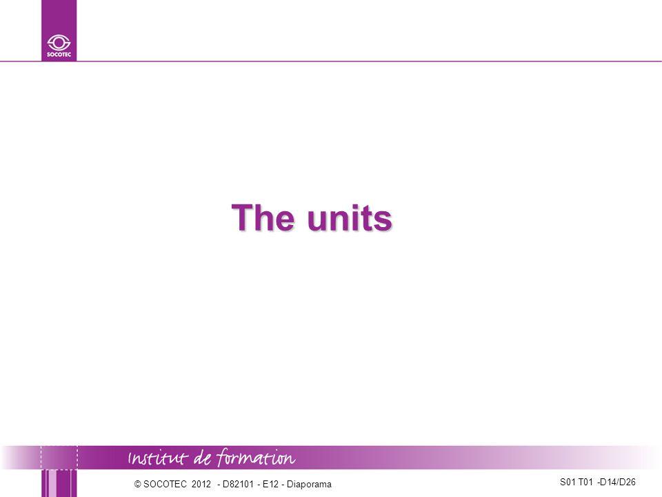 The units © SOCOTEC 2012 - D82101 - E12 - Diaporama
