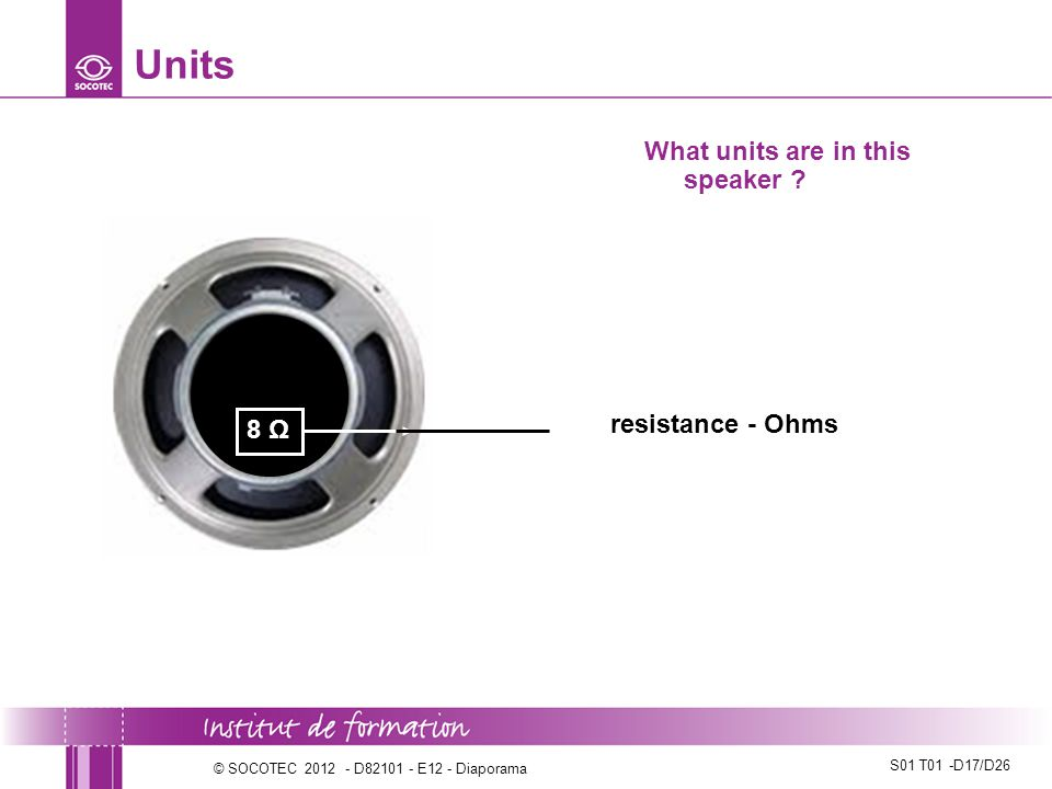 Units What units are in this speaker resistance - Ohms 8 Ω