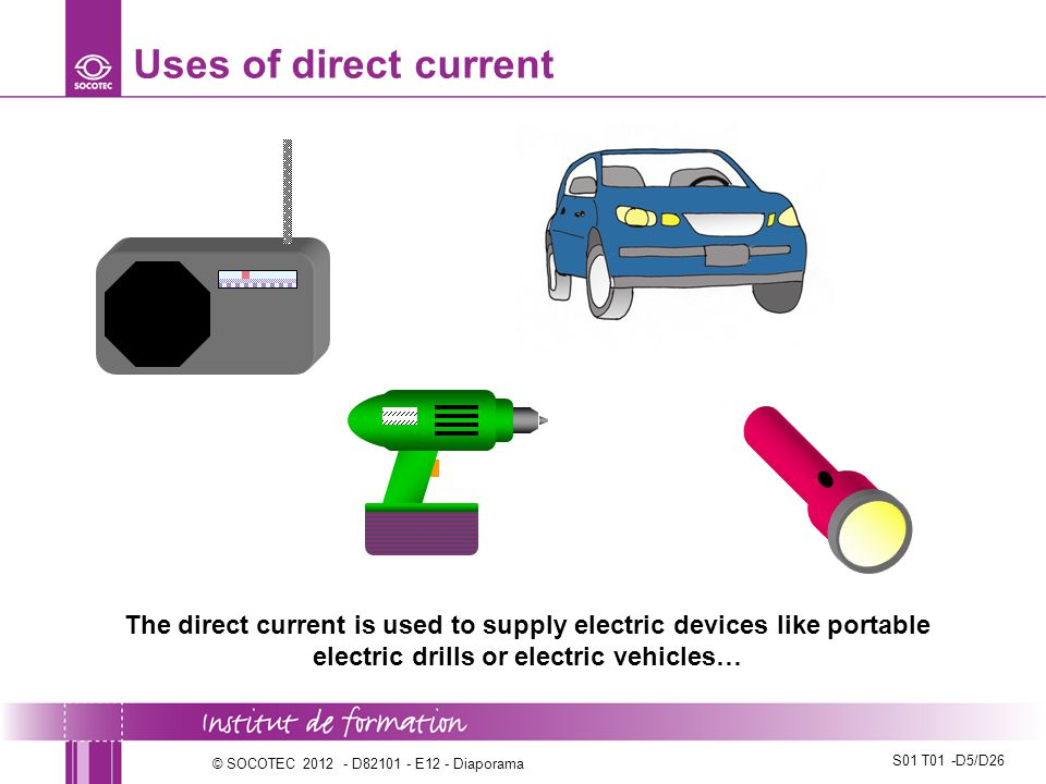 Uses of direct current The direct current is used to supply electric devices like portable electric drills or electric vehicles…