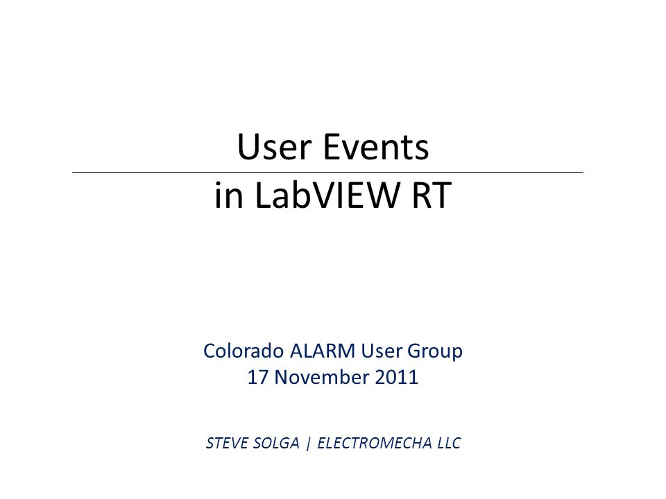 User Events in LabVIEW RT