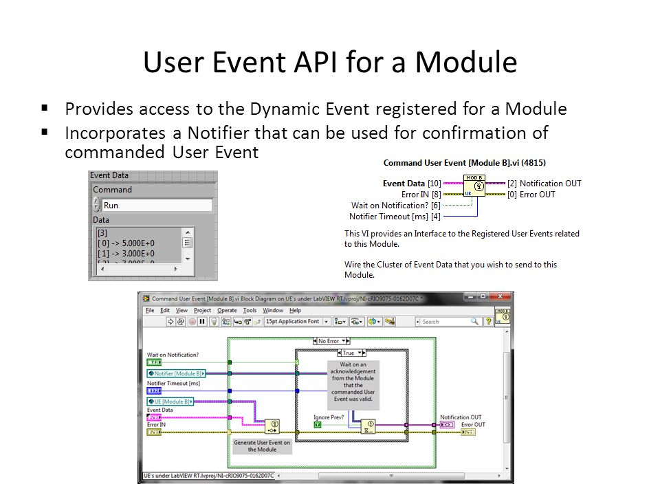 User Event API for a Module