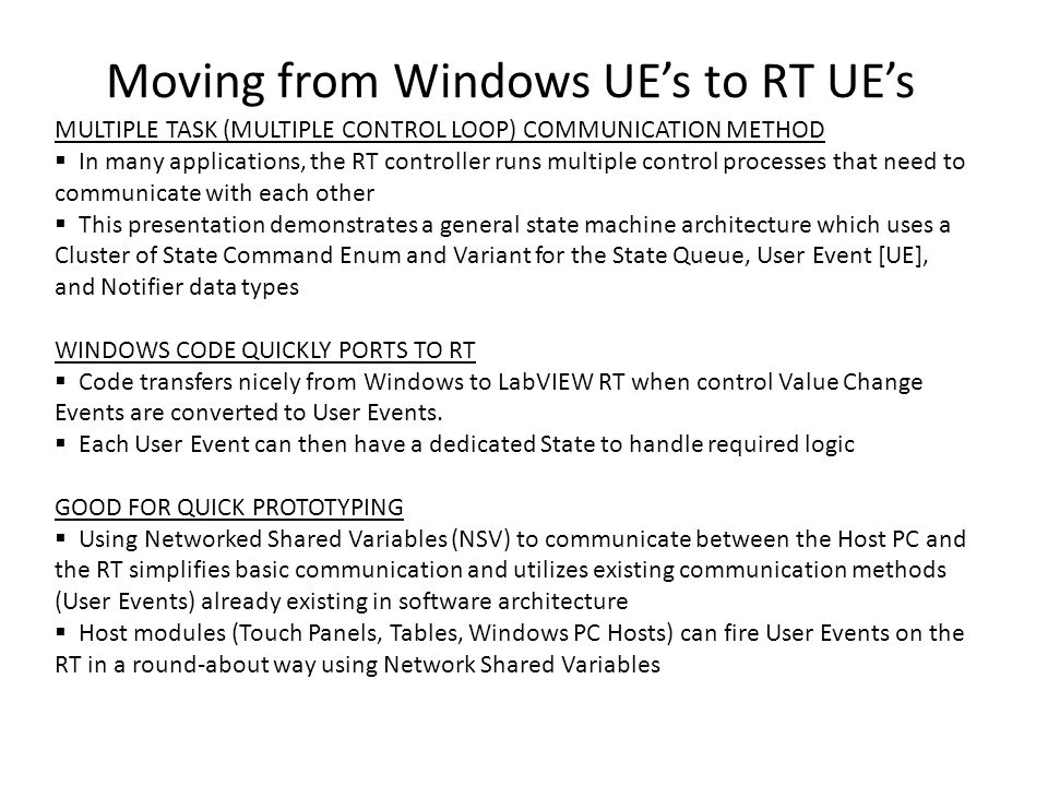 Moving from Windows UE's to RT UE's