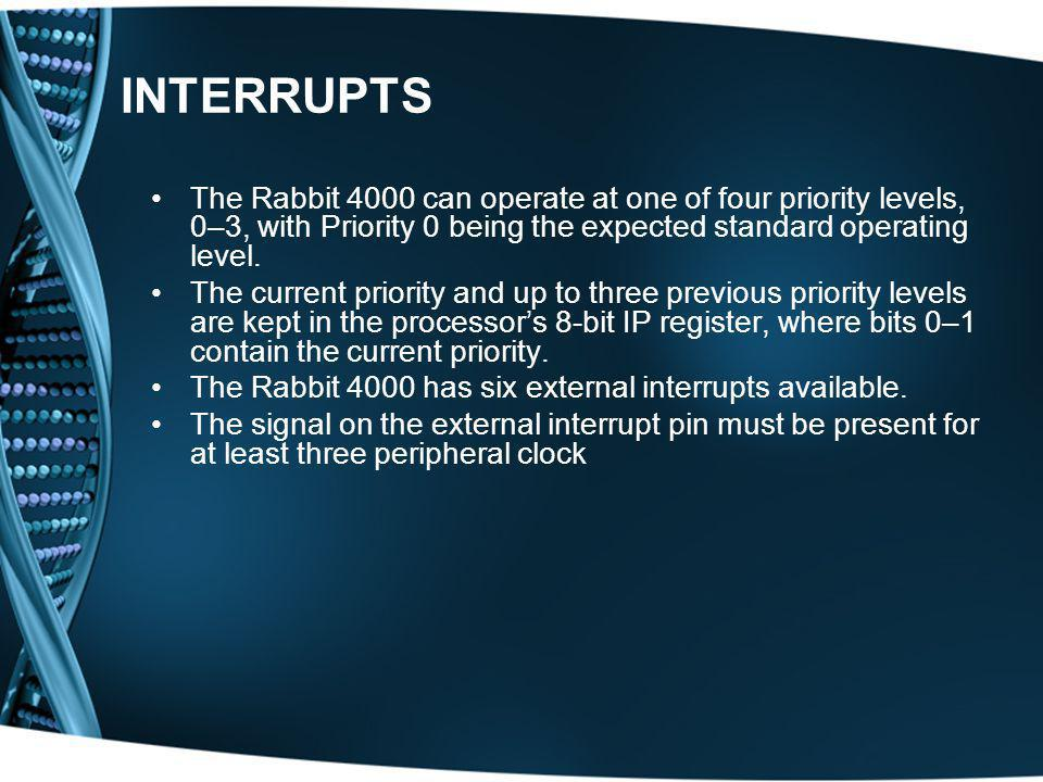 INTERRUPTS The Rabbit 4000 can operate at one of four priority levels, 0–3, with Priority 0 being the expected standard operating level.