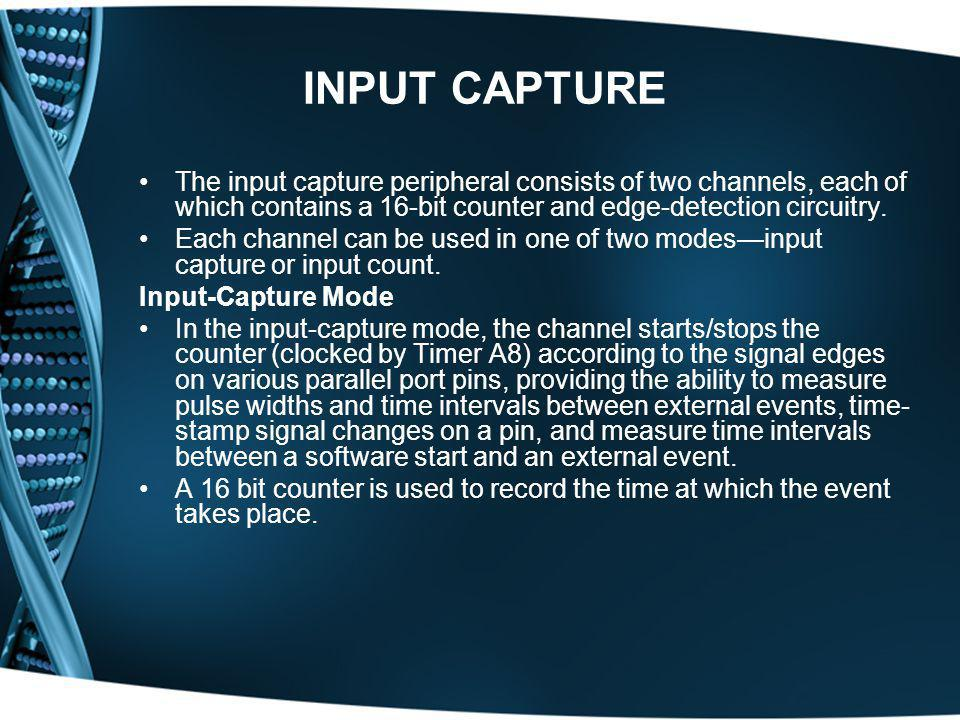 INPUT CAPTURE The input capture peripheral consists of two channels, each of which contains a 16-bit counter and edge-detection circuitry.