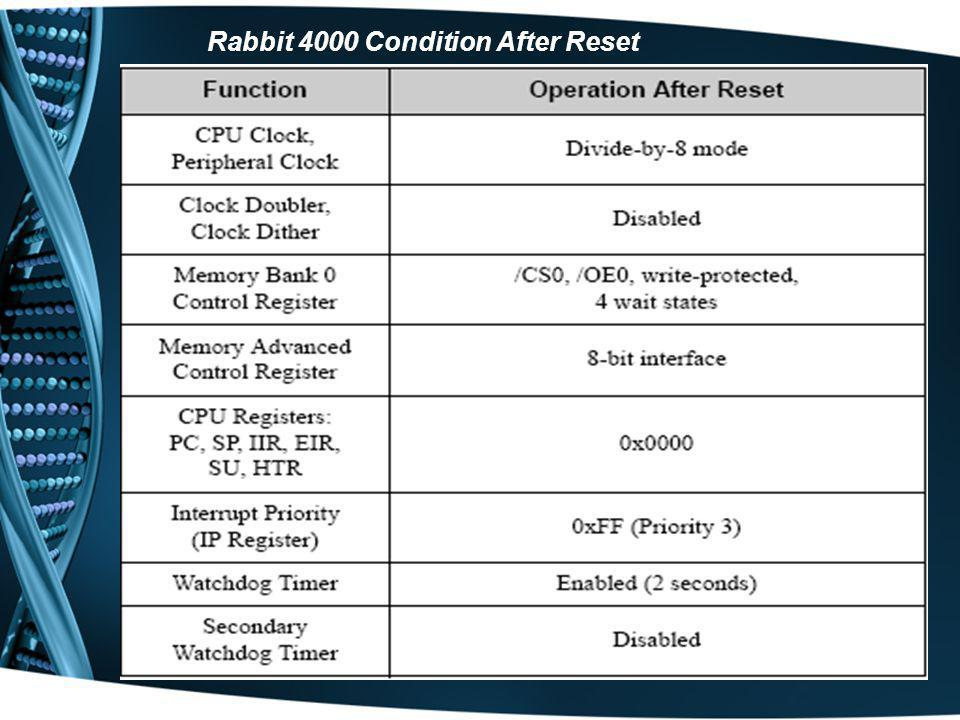 Rabbit 4000 Condition After Reset