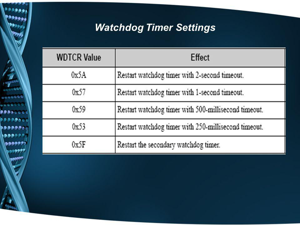 Watchdog Timer Settings