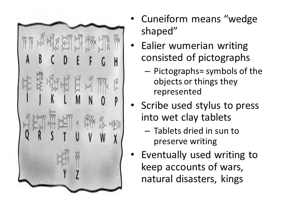 Cuneiform means wedge shaped