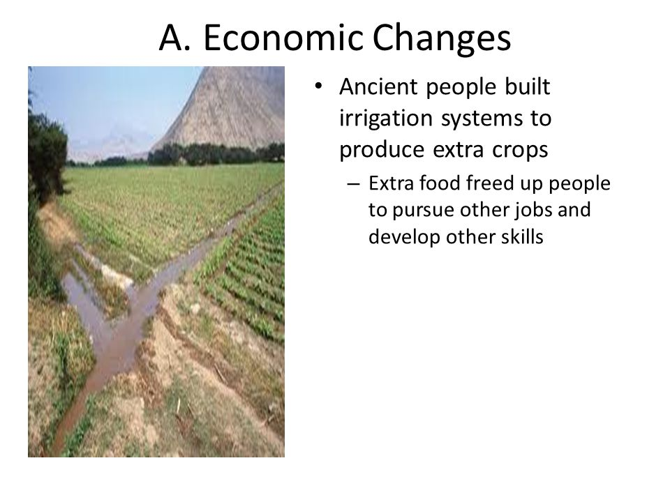 A. Economic Changes Ancient people built irrigation systems to produce extra crops.