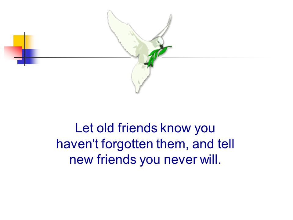 Let old friends know you haven t forgotten them, and tell new friends you never will.