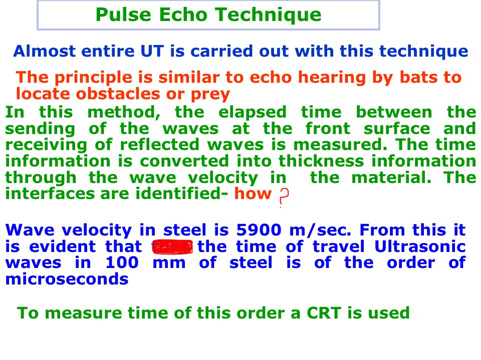 Pulse Echo Technique Almost entire UT is carried out with this technique.