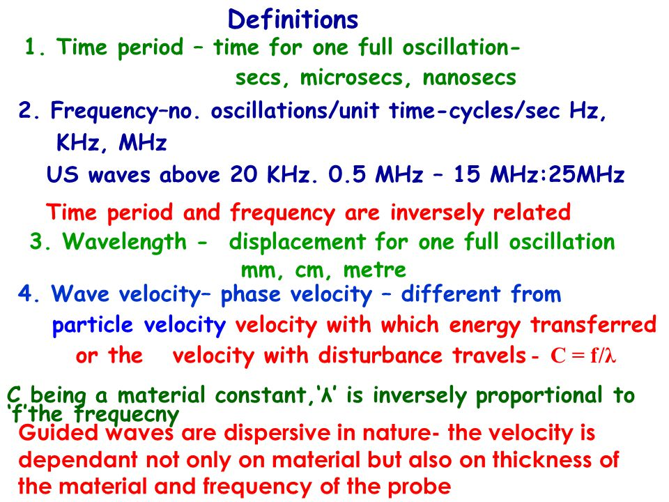 Definitions 1. Time period – time for one full oscillation-