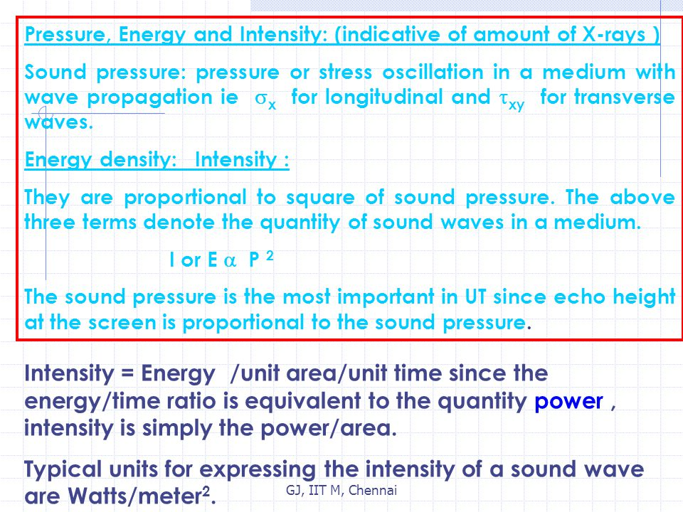 Pressure, Energy and Intensity: (indicative of amount of X-rays )
