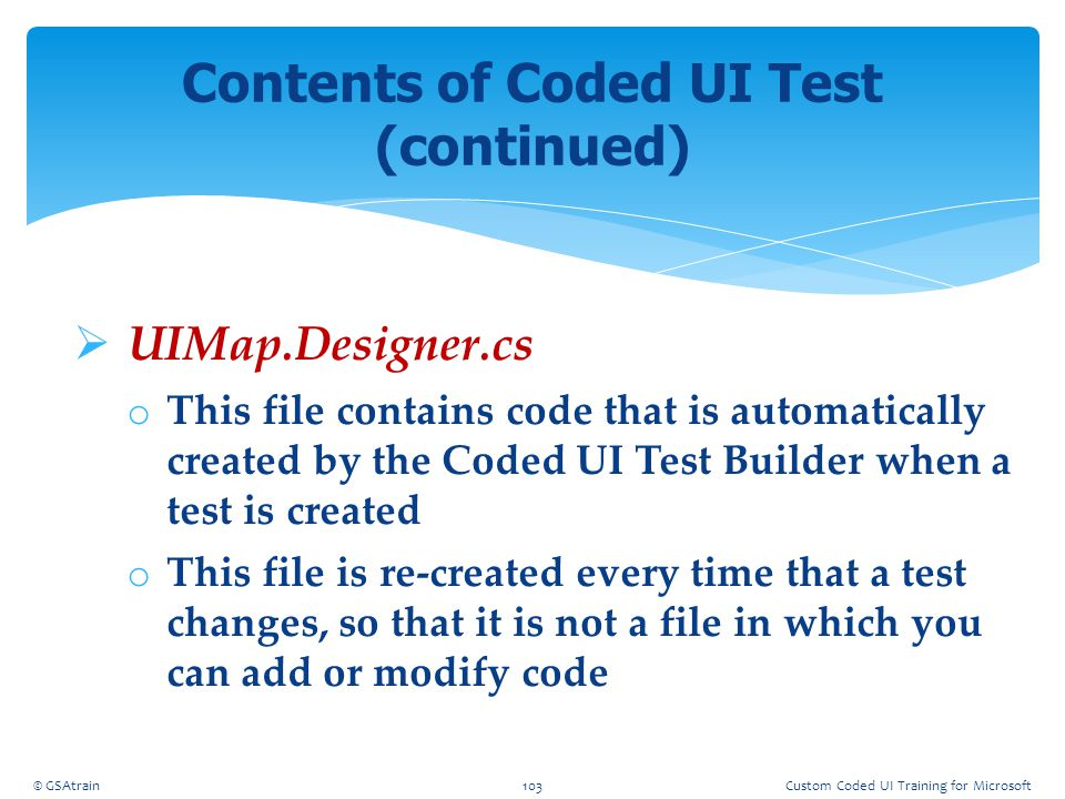 Contents of Coded UI Test (continued)