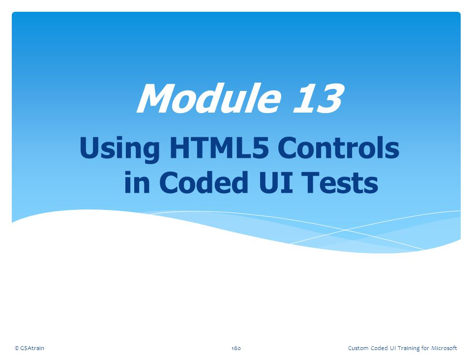 Using HTML5 Controls in Coded UI Tests