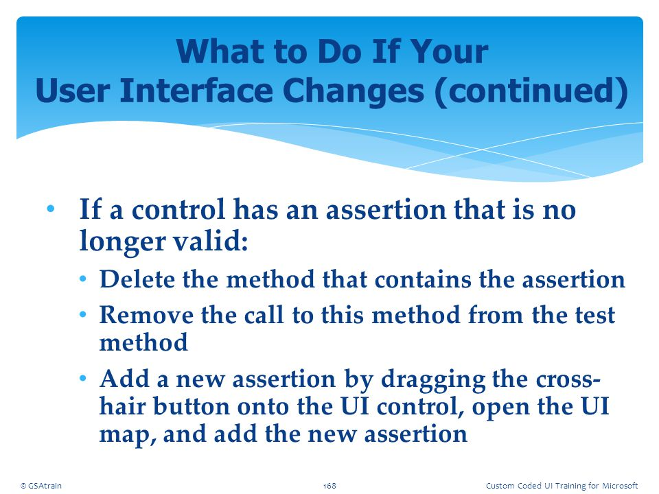 What to Do If Your User Interface Changes (continued)
