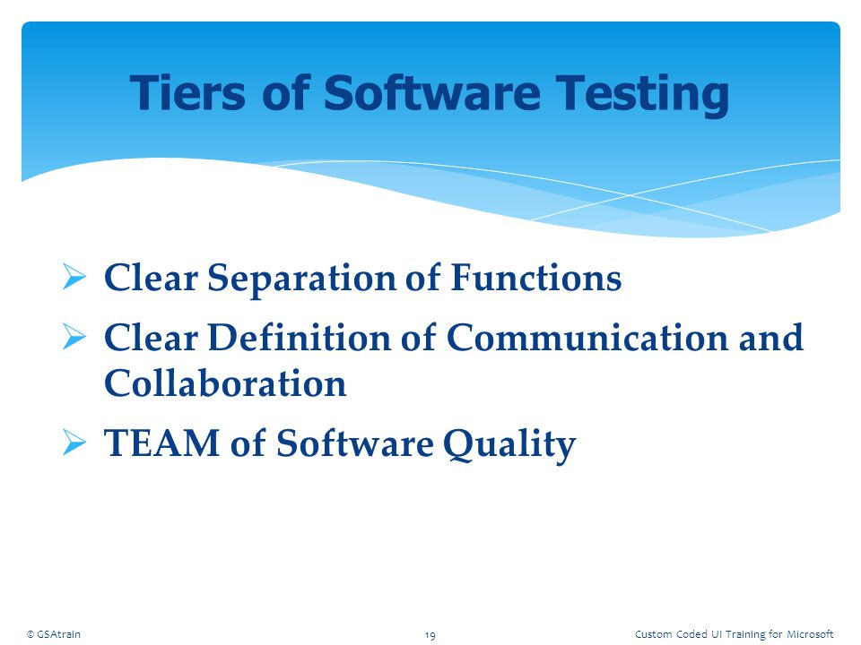 Tiers of Software Testing