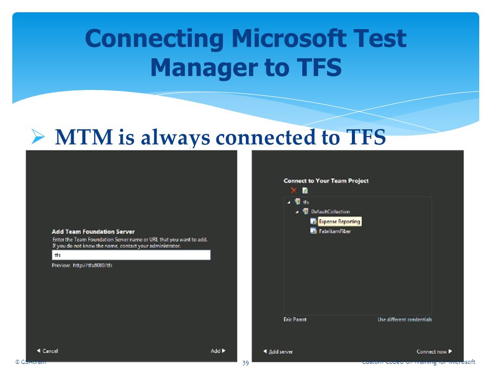 Connecting Microsoft Test Manager to TFS