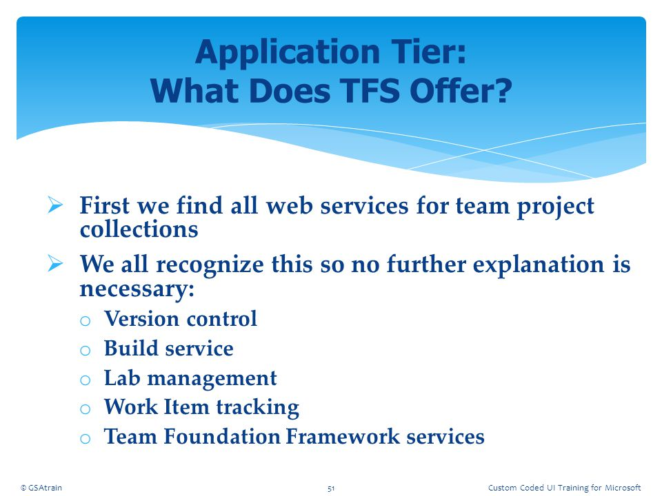 Application Tier: What Does TFS Offer