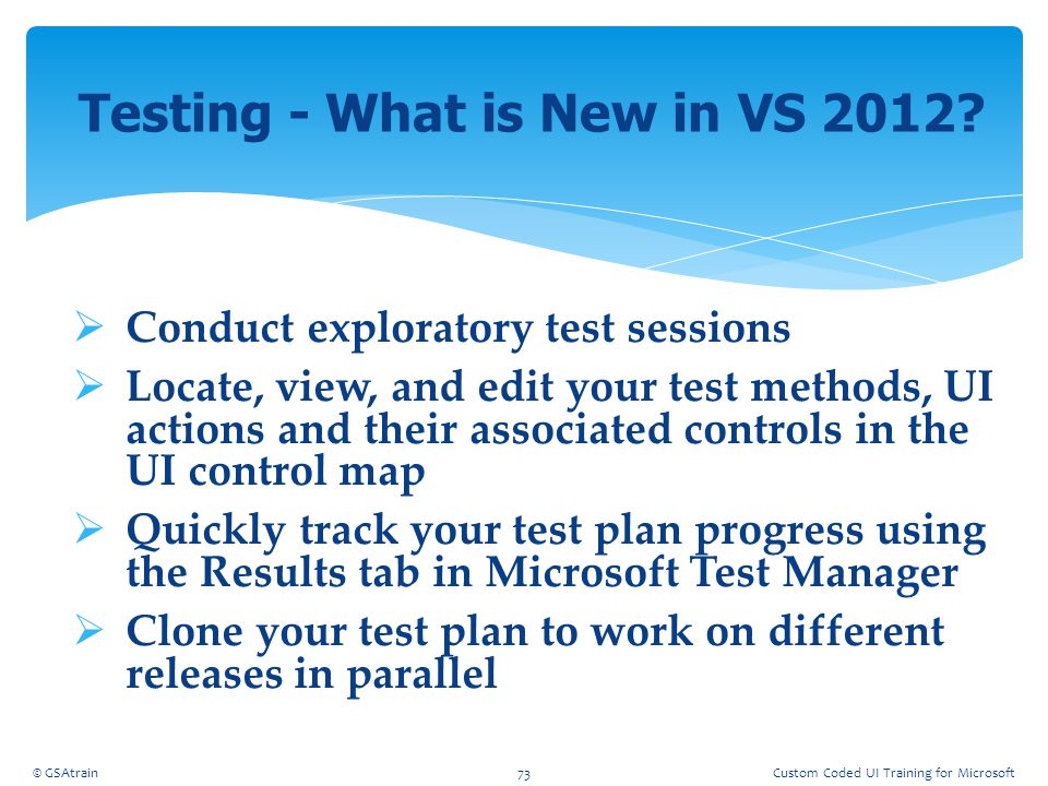Testing - What is New in VS 2012
