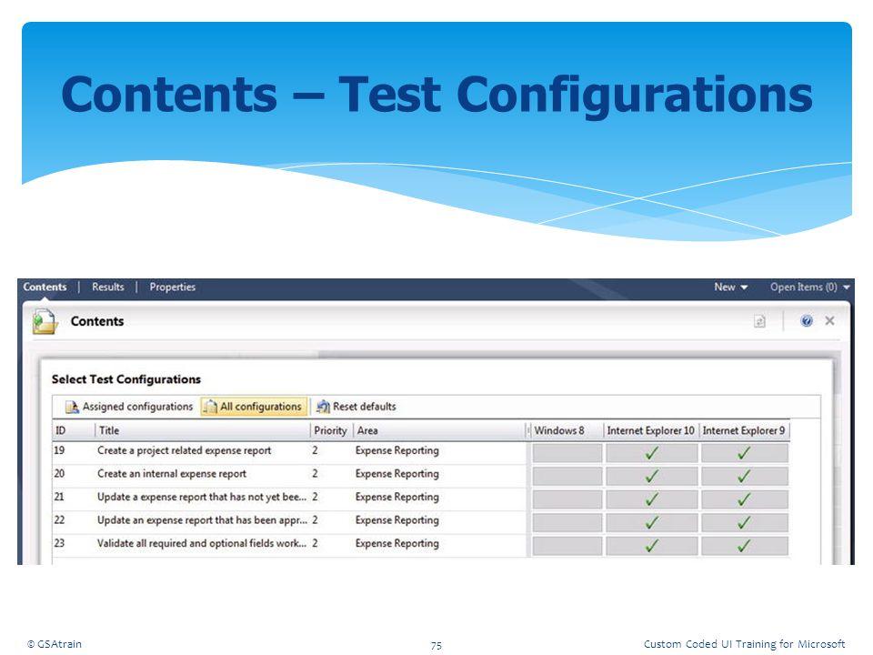 Contents – Test Configurations