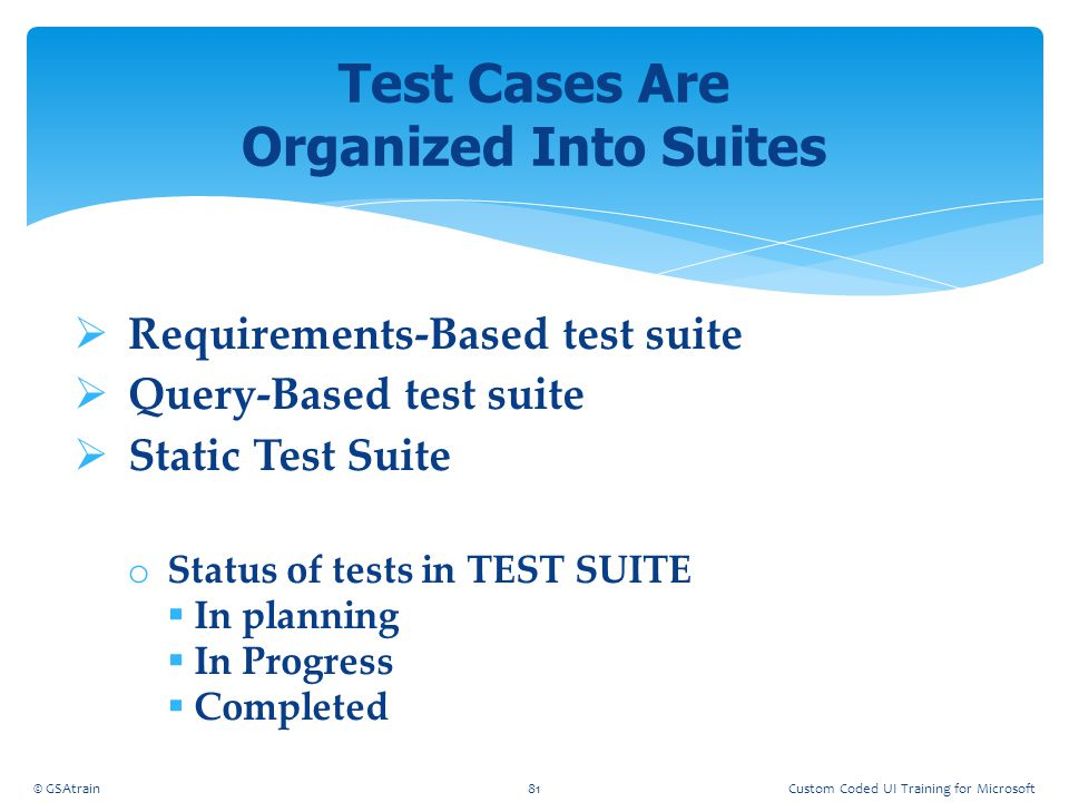 Test Cases Are Organized Into Suites