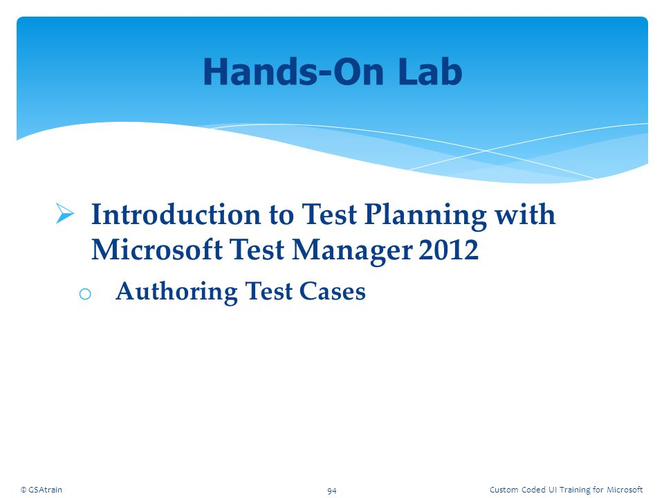 Coded UI Testing October, 2012. Hands-On Lab. Introduction to Test Planning with Microsoft Test Manager 2012.