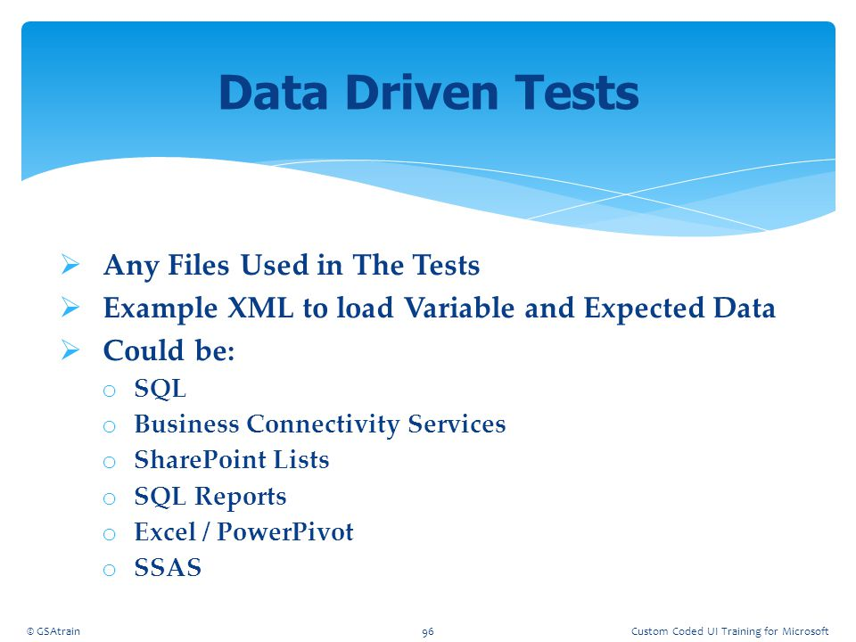 Data Driven Tests Any Files Used in The Tests