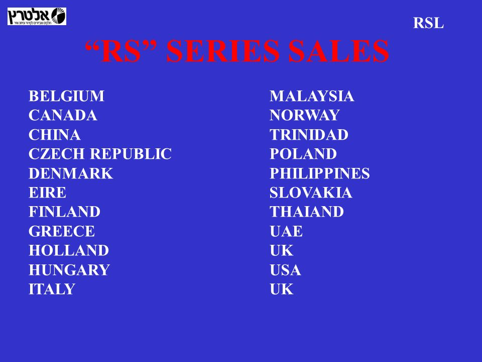 RS SERIES SALES RSL BELGIUM MALAYSIA CANADA NORWAY CHINA TRINIDAD