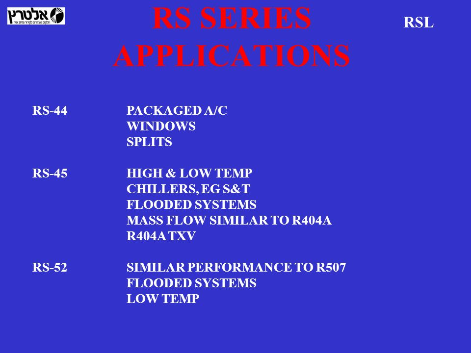 RS SERIES APPLICATIONS