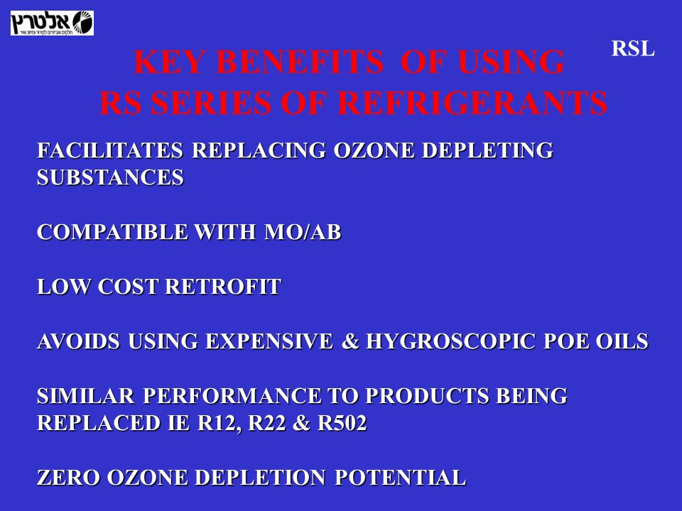 KEY BENEFITS OF USING RS SERIES OF REFRIGERANTS