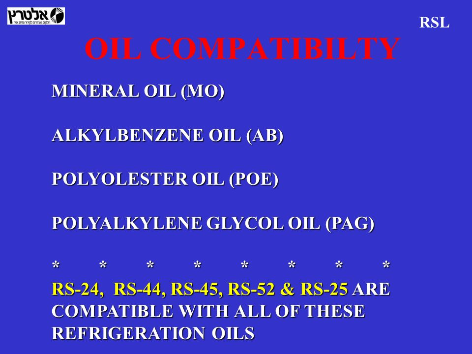 OIL COMPATIBILTY MINERAL OIL (MO) ALKYLBENZENE OIL (AB)