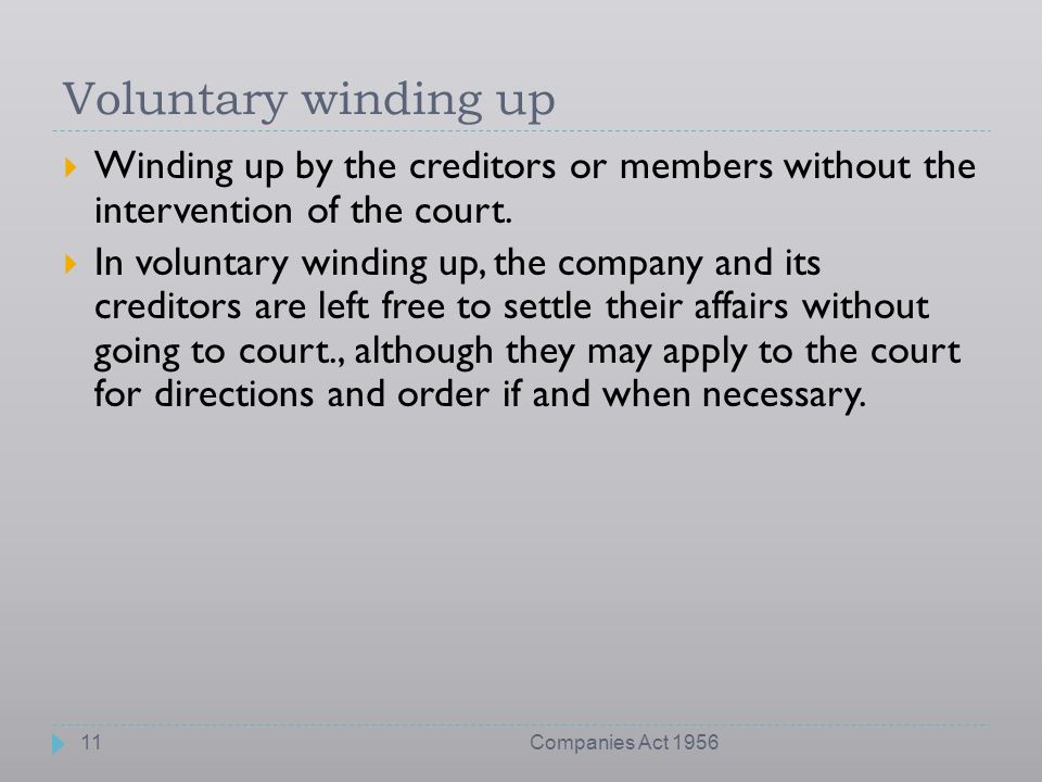 Voluntary winding up Winding up by the creditors or members without the intervention of the court.