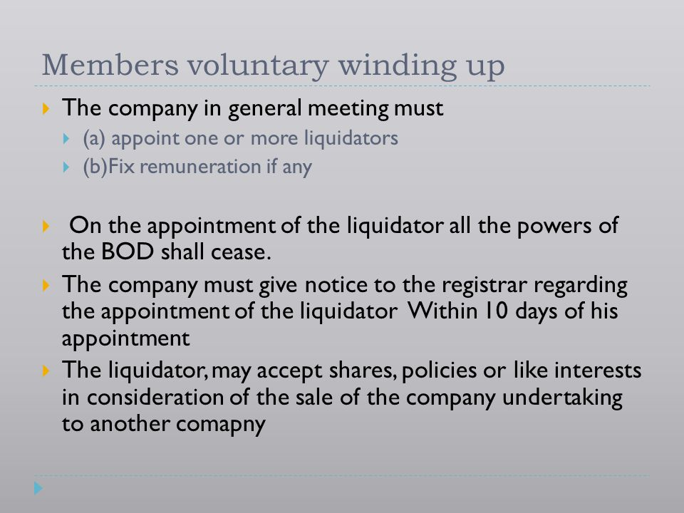 Members voluntary winding up