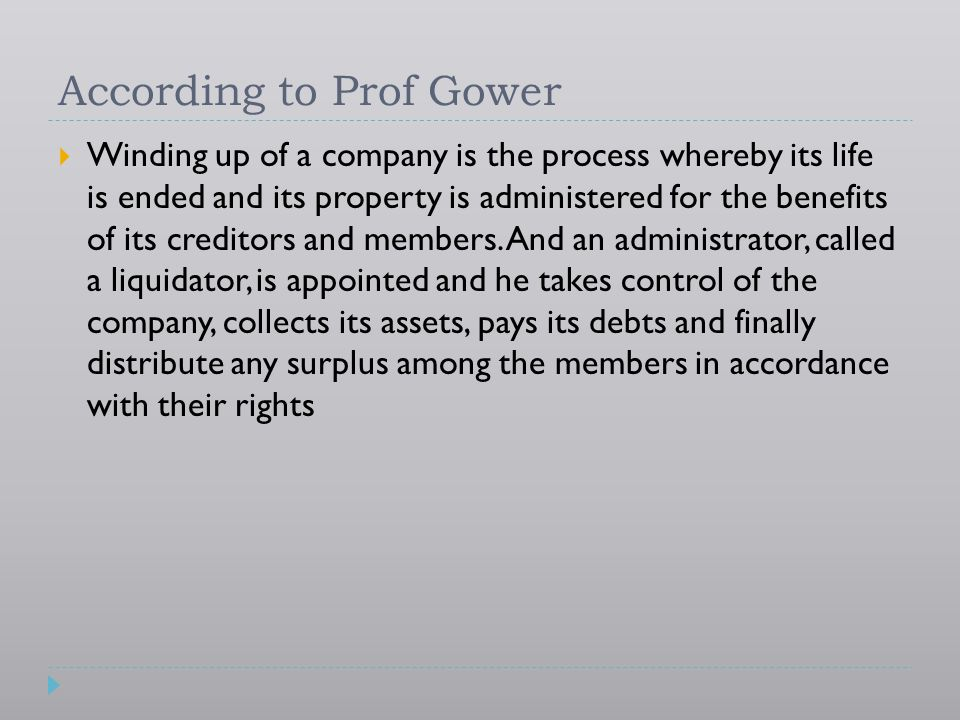 According to Prof Gower
