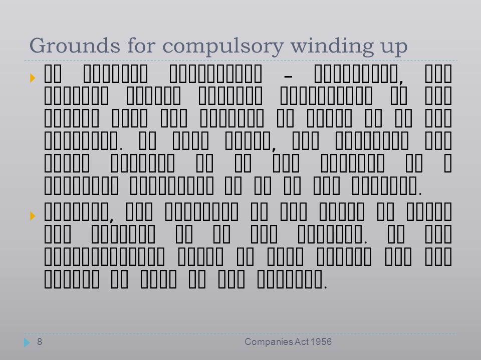 Grounds for compulsory winding up